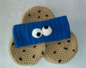 Cute Lil Cookie Monster girl crocheted headband and Cookie for  palelilyblue