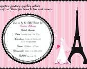 Cafe in Paris - bridal shower invitation - digital file