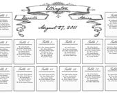 Custom listing - utastelikebbq - Vintage black and white banner- wedding seating chart - 20x30