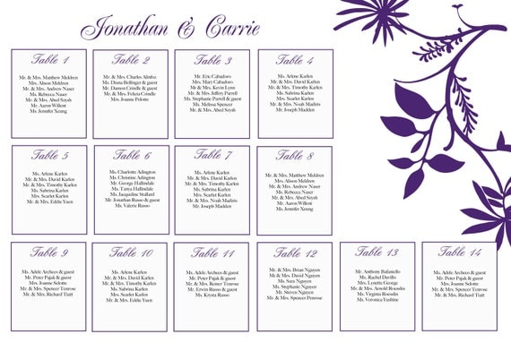 Flora seating chart - digital file