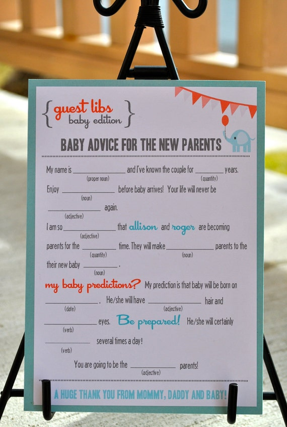 new mad libs baby shower edition circus elephant digital file