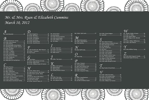 Funky Fleur - wedding seating chart - digital file