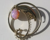 SALE, was 12.50. Lovely, vintage, 1/20th, 12k brooch with opal triplet. classy, art nouveau, floral, whimsical, vestiesteam.
