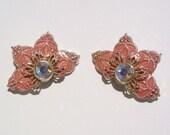 Circa 1950s, pale pink, lacey, clip on earrings: starfish, flower, sock hop, sweet 16, movie prop, teeny bopper