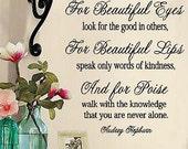 Audrey Hepburn- For Beautiful Eyes-  Vinyl Lettering wall words quotes graphics decals Art Home decor itswritteninvinyl