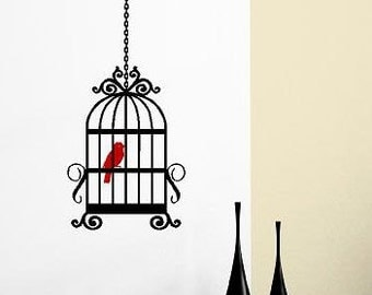 Bird Cage-Vinyl Lettering wall words  custom graphics decals Art Home decor itswritteninvinyl