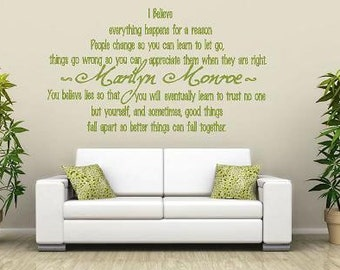 Marilyn Monroe- Believe  Vinyl Lettering decal wall words quotes graphics decals Art Home decor itswritteninvinyl