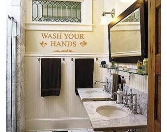 Wash your hands- Bathroom- Vinyl Lettering wall words graphics  decals  Art Home decor itswritteninvinyl