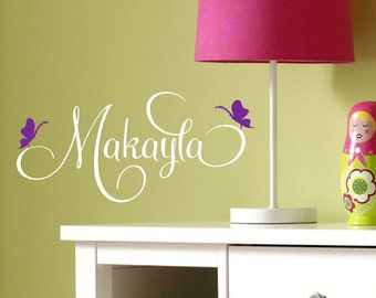 Personalized girls name Butterflies -Vinyl Lettering wall words graphics Home decor itswritteninvinyl