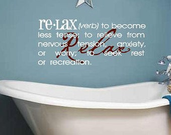 Relax definition -Vinyl Lettering wall words graphics Home decor itswritteninvinyl