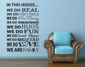 In This House -Vinyl Lettering custom removable decal  family wall words graphics Home decor itswritteninvinyl