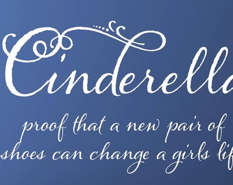 Cinderella - children  Vinyl Lettering wall words graphics  decals  Art Home decor itswritteninvinyl