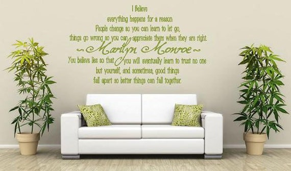 Marilyn Monroe Believe Vinyl Lettering Wall Words Quotes - Custom vinyl lettering wall decals art sayings