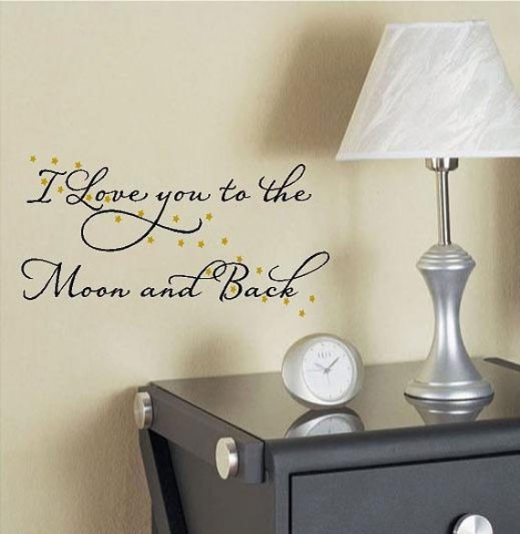 I love you to the moon and back-Vinyl Lettering wall words graphics Home decor itswritteninvinyl
