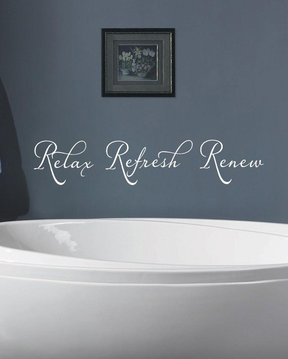 Word Wall Art Vinyl Lettering Home Decor ~ Relax refresh renew bathroom vinyl lettering wall art words