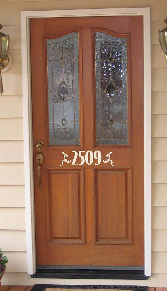 Items similar to custom door house numbers vinyl for Door vinyl design
