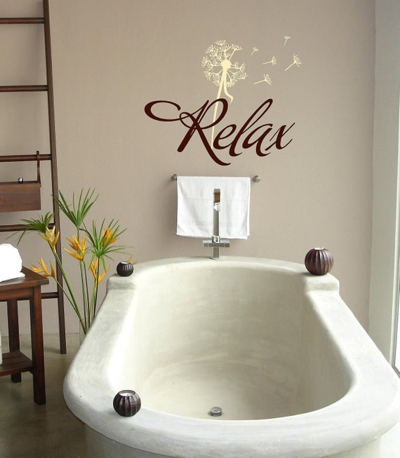 Relax with dandelion- Bathroom-Vinyl Lettering wall words graphics Home decor itswritteninvinyl