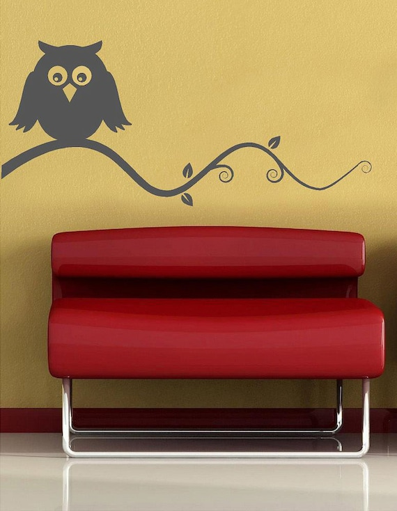 Owl on a branch- birds Vinyl Lettering  animal Decal wall words graphics Home decor bedroom  itswritteninvinyl