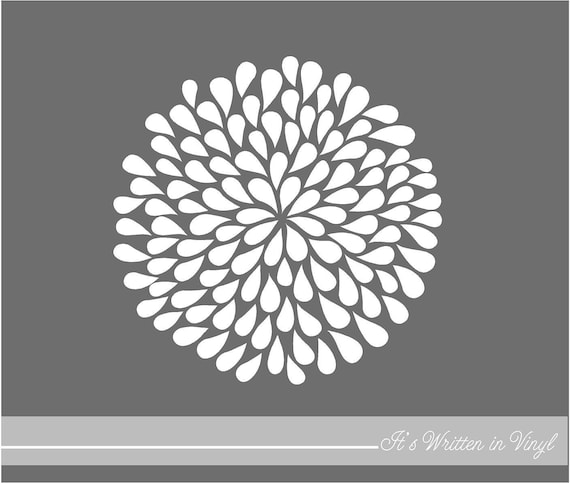 Graphic Quotes Wall Art   White Or Pool : Items similar to white mum flower in vinyl lettering