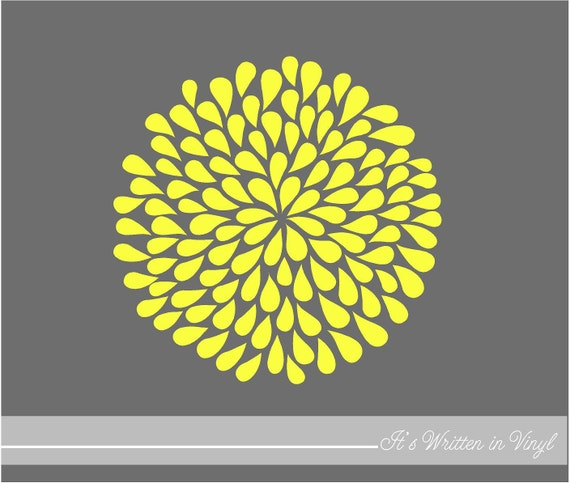 Bright Yellow Mum Flower 9 in.- Vinyl Lettering wall words quotes graphics decals Art Home decor itswritteninvinyl