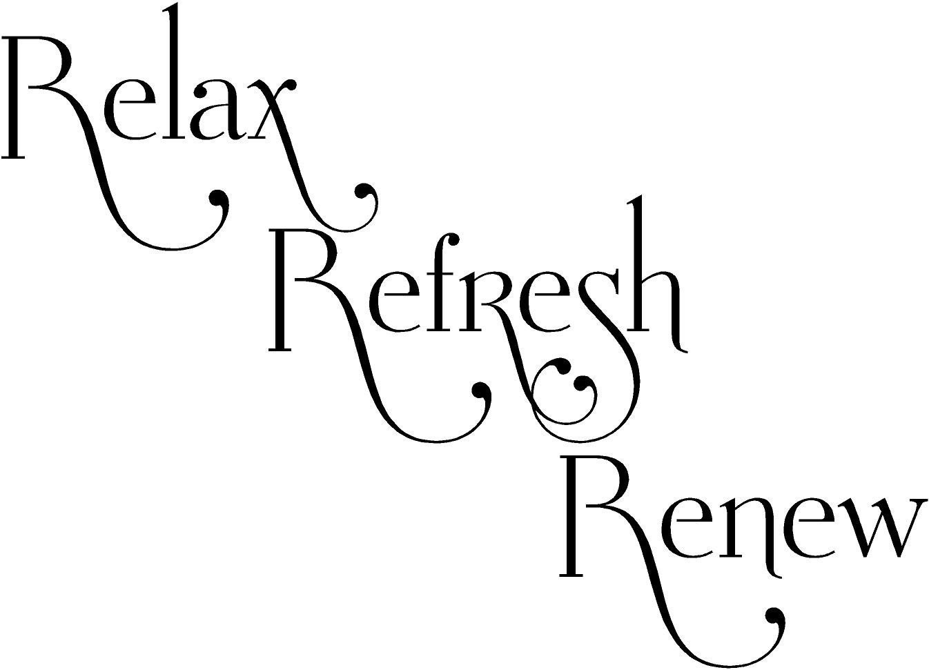 Relax Refresh Renew Bathroom Vinyl Lettering Wall Words