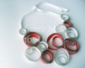 Bubbles Zipper Necklace - White & Coral Zipper Jewelry. Beautiful Gift
