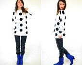reserved--oversized black n white polk-a-dot sweater, xs-medium