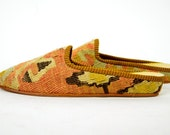 INSTANBUL woven tapestry KILIM slip on BOHEMIAN loafers slippers, size 8