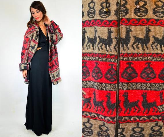 unisex HOODED ethnic bohemian ALPACA sweater COAT jacket, medium-extra large