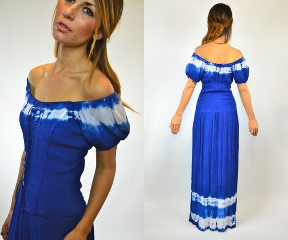 GAUZY cobalt dip dyed OMBRE tie dyed corset MAXI dress, extra small - small