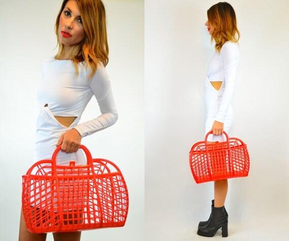 RARE red orange plastic CAGE purse travel pet TOTE bag