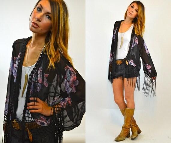 SHEER black gypsy floral FRINGE cape jacket KIMONO, extra small - small