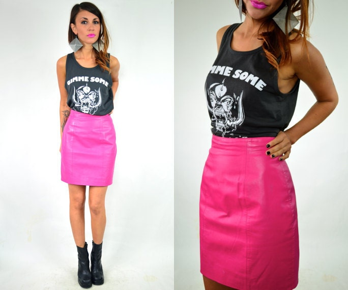 HOT PINK leather high waisted pencil SKIRT xsmall-small