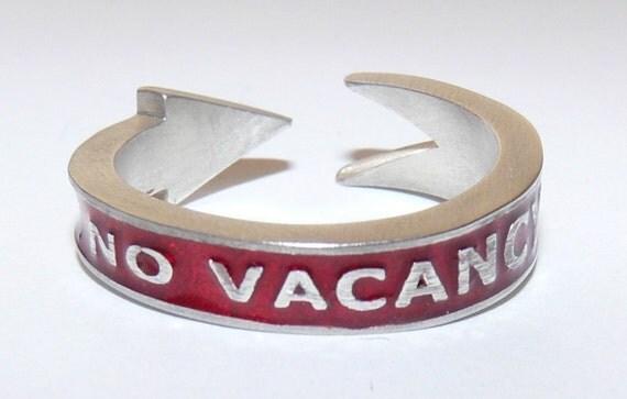 Mans Silver No Vacancy Band in Red enamel