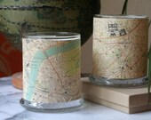Glass candle holders- Large glass holders wrapped with vintage London street map design, set of two in gift box