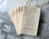 Favor bags, muslin, 3x5. Set of 60.  Love is Sweet with love background.  Engagement, shower, wedding.