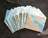 Handmade map envelopes from vintage atlas pages, set of 12, 3.5 x 4.5 inches