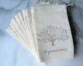 Muslin favor bags, gift bags, 3x5. 50.  Oak tree, All You Need Is Love script in brown on natural white cotton.