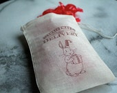 Christmas gift bag, muslin, 4x6. Set of 6.  Christmas Delivery with adorable brown bunny.  Great gift card holder.