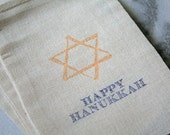 Hanukkah gift bags,  muslin favor bags, 4x6.  Set of 10.  Rustic shabby chic decoration or gift wrap for the holidays.