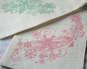 Christmas gift bag, muslin, 4x6. Set of 10.  Abstract snowflakes in red and green.  Great gift card holder.