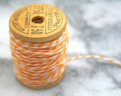 Bakers twine, lemon yellow.  Twinery baker's twine in Lemondrop bright yellow.  10 yds on a vintage spool. - CraftyClementines