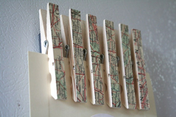 Decorative wooden clothespin magnets, set of 6 - Vintage map design