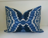 Designer pillow cover 14x20 lumbar Duralee indigo denim Ikat throw pillow