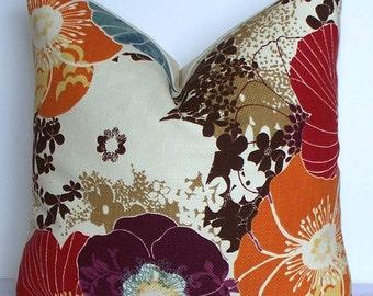 Decorative pillow cover Designer throw pillow - plum purple - aqua blue - brown - red - orange floral