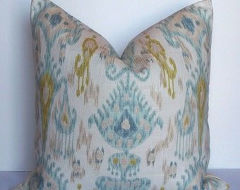 Robert Allen IKAT - Decorative pillow cover - throw pillow - BOTH SIDES -aqua - turquoise - tan - chartreuse - green - accent pillow