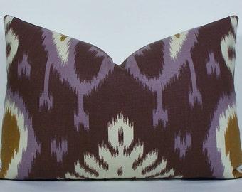 Designer IKAT Lumbar pillow cover - Decorative Pillow Cover - throw pillow - accent pillow - amethyst