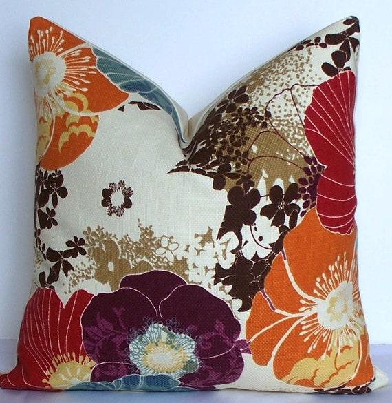 Floral Purple Plum Teal Orange Red Decorative Pillow Cover