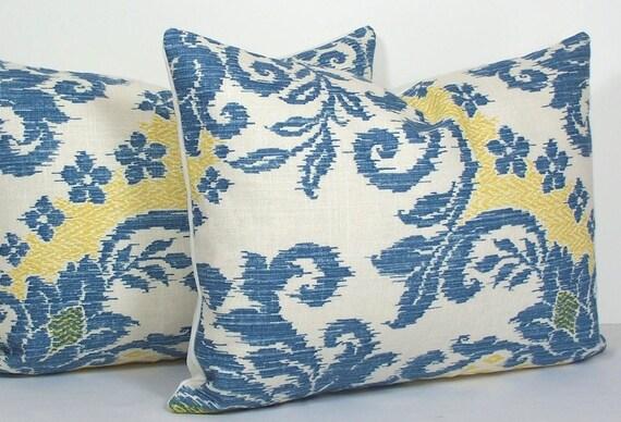 Pair Ikat pillow covers Designer Waverly blue sky lumbar throw pillows - white - blue sky - yellow gold accent cushion