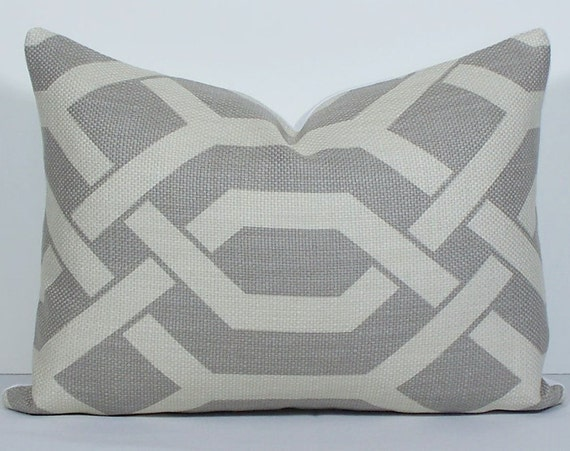 Designer throw pillow covers PAIR Lumbar gatework gray sofa cushion Geometric lattice 12 x 16